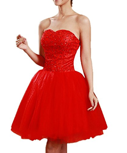 Aurora Bridal Women's Short Beading Homecoming Dresses 2018 Formal Gown Size 8 Red