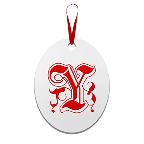 Red Y Virtue Monogram Letter Y Aluminun Oval Shape Christmas Ornaments Red Ribbon 2 Sided Printing Gift Ideas