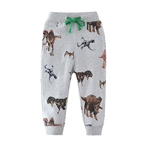 HUAER& Boys Cartoon Print Monkey Dinosaur Camouflage Pattern Cotton Pants Drawstring Elastic Sweatpants (2T(height85-90cm/33-34inch), Grey & Dinosaur-2)