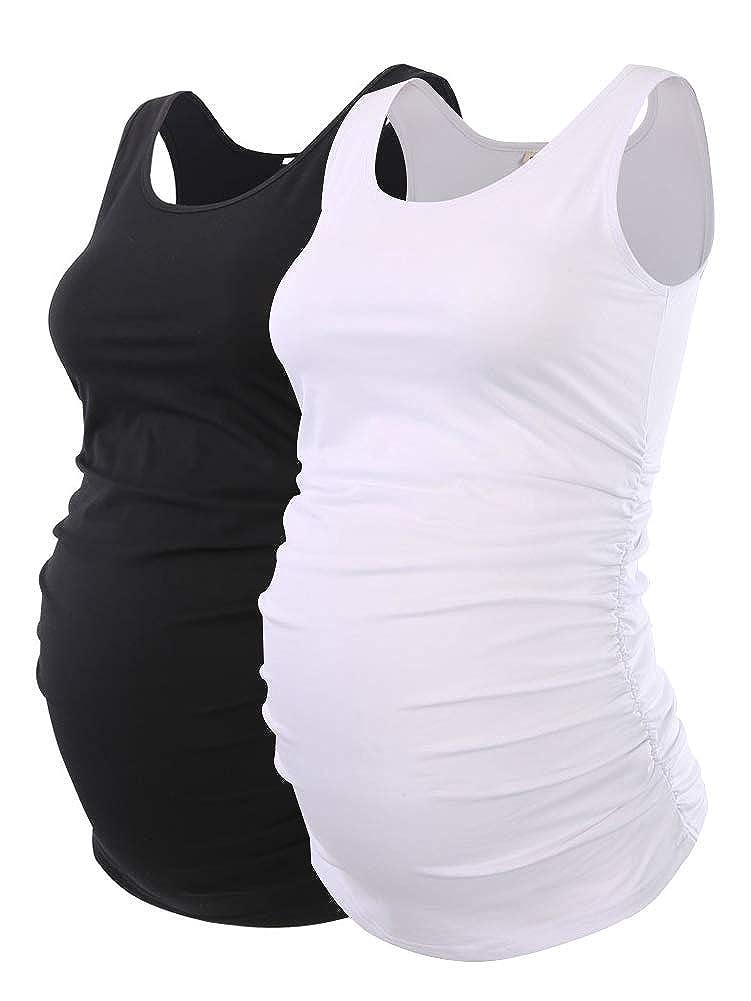 Liu & Qu マタニティ ベーシックタンクトップ ママ衣服 ネックノースリーブトップス レディース無地 サイドルーシュドベスト B072TY6MF8 Small|ブラックホワイト ブラックホワイト Small
