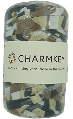 Charmkey Camouflage Print Yarn 6 Super Chunky Natural Soft Cotton Blend Ribbon T Shirt Yarn Elastic Knitting Cloth Fabric for Bags Cushion DIY Handicraft, 1 Skein, 7.05 Oounce (Desert Sand) ()