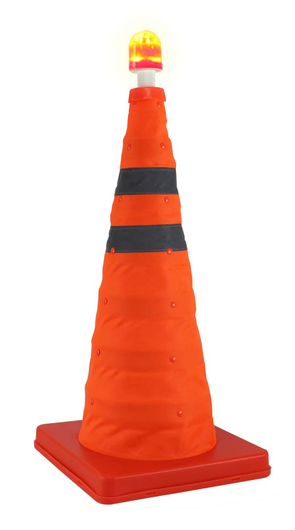 Royal Brands 25.5 Inch Collapsible Safety Traffic Cone - Multipurpose Pop-Up Safety Cone - Expandable with LED Light for Night Time Roadside Emergency