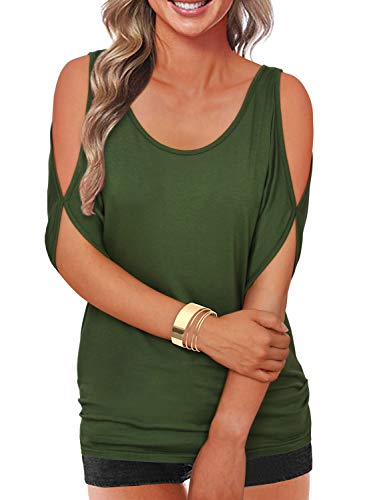 Army Green Summer T Shirt Women Short Sleeve Cold Shoulder Loose Fit Pullover Casual Top