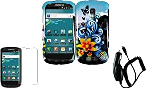 Yellow Lily Design Hard Case Cover+LCD Screen Protector+Car Charger for Samsung Galaxy S Aviator R930