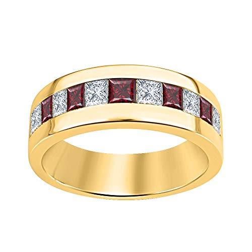 (tusakha 18k Yellow Gold Over Solid .925 Sterling Silver Princess Cut Created Red Garnet & Diamond Men's Wedding Band Anniversary Ring)