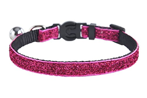 EXPAWLORER Adjustable Breakaway Sparkle Nylon Cat Collar with Bell for Pet Dog Puppy Kitten,Rose - Nylon Breakaway Cat Collar Bell