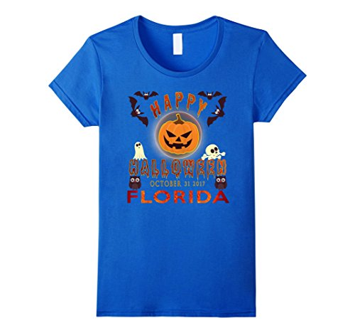 Womens Happy Halloween Florida 2017 T-Shirt Small Royal Blue