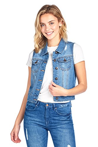 Sleeveless Denim Jeans (Blue Age Womens Denim Jean Jacket and Sleeveless Vest (M, V6001_LtBlue))