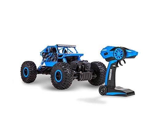 World Tech Toys Conqueror 1:18 2.4 Ghz 4x4 RC Rock Crawler, Blue/Red/Green, 10.5 x 6.25 x 5