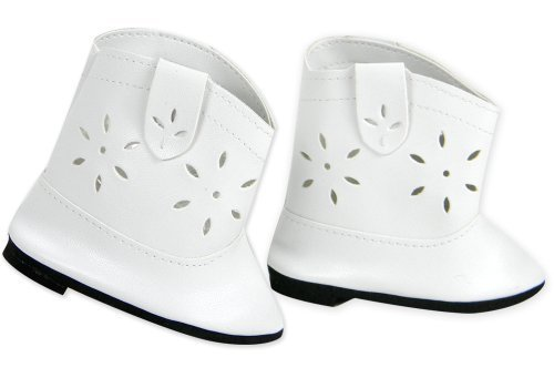 Sophia's Doll Cowgirl Boots in White, Doll Shoes Fits 18 Inch Dolls Like American Girl, White Cowgirl Doll Boots