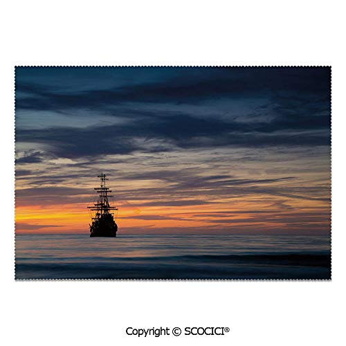 - SCOCICI Set of 6 Heat Resistant Non-Slip Table Mats Placemats Old Sailboat in Majestic Sunset Scenery Tropical Waters Maritime Decorative for Dining Kitchen Table Decor