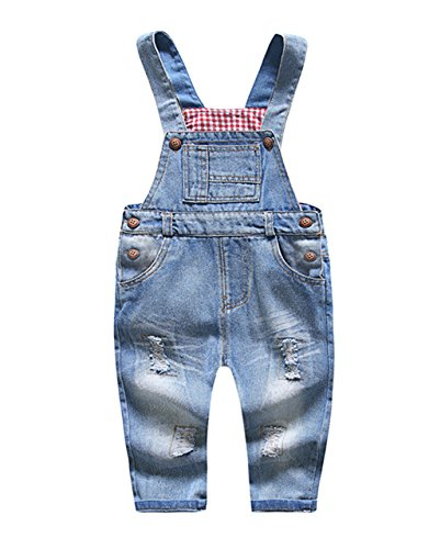 Kidscool Baby & Little Boys/Girls Blue Ripped Denim Overalls -