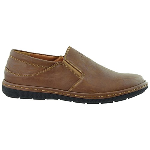 Mens Casual Shoes Slip On Loofers Double Goring Flat Heel Dark Brown S0HWVaCe