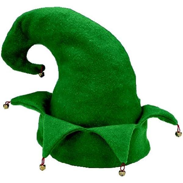 Elf felt hat adults fancy dress costume party hat pantomime bell green unisex