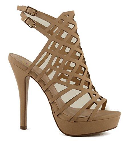 Delicious Womens Merry Cross Design Platform Stiletto Heel w/Double Back Strap Natural UOB53kfE