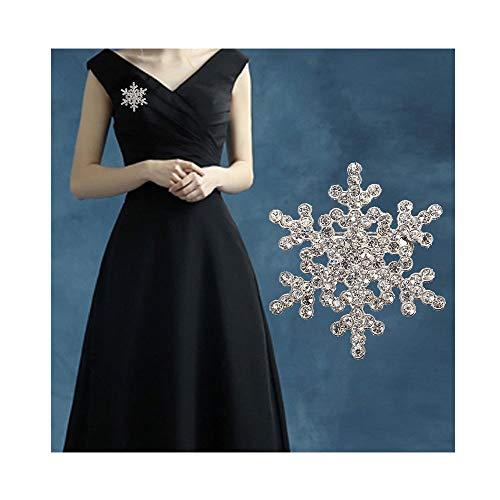 Brooch Pin Stylish (JczR.Y Rhinestone Snowflake Brooch Pins Winter Christmas Wedding Crystal Brooch Jewelry for Women (Silver))