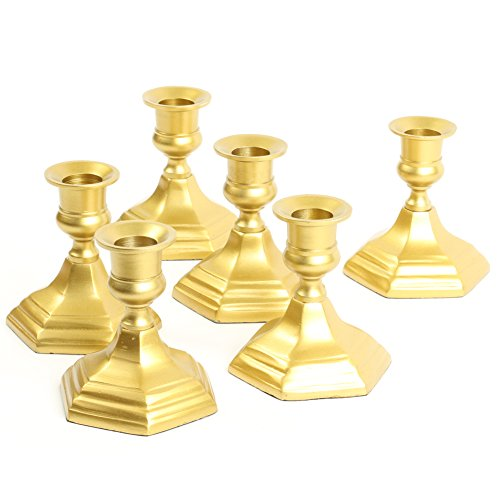 - Koyal Wholesale Hexagon Taper Candle Holders, Set of 6, Brass Candle Holders, Metal Candle Bases, Metallic Candlestick Holders (Gold, 4