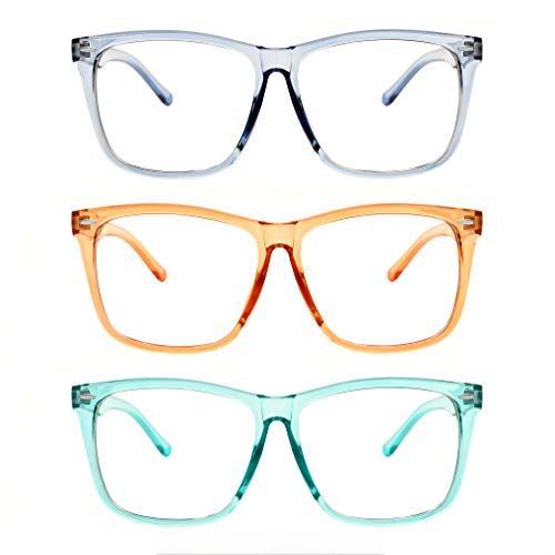 5zero1 Fake Glasses Big Frame Clear For Women Men Fashion Classic Retro Costumes Party Halloween, Light Blue/Light Orange/Teal