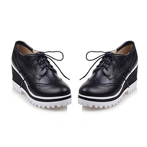 AllhqFashion Damen Blend-Materialien Rund Zehe Hoher Absatz Schnüren Rein Pumps Schuhe Schwarz