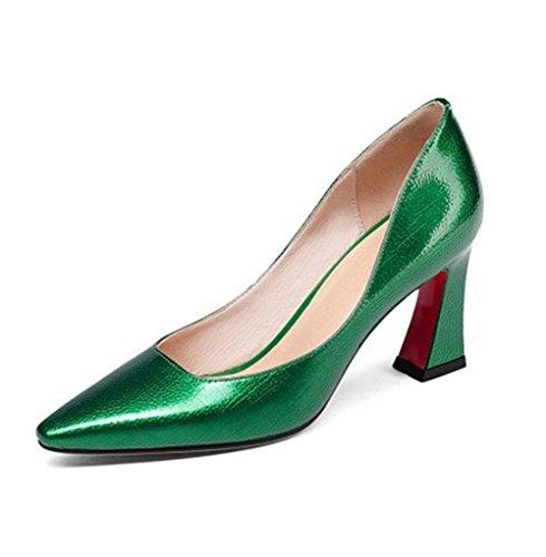 Zapato Negro Trabajo Oro Dedo Zapatos Mujer Vestir Áspero Puntiagudo uk Fornido Fiesta Corte Zapatillas Eur Green Del 35 3 Pie eur37uk455 Cuero Alto Tacón Nvxie 74FzqwUWU