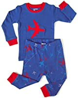 Leveret Boys Airplane 2 Piece Children Pajama 100% Cotton (Size 6M-8 Years)