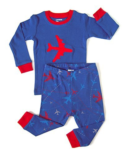 Leveret Airplane 2 Piece Pajama Set 100% Cotton 2 Years by Leveret (Image #2)