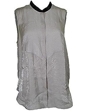 Calvin Klein Silver Sleeveless Sequin Top, Size Large