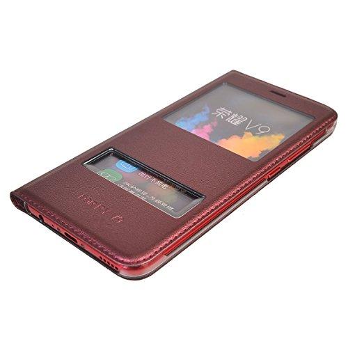 Huawei Honor V9 Funda,COOLKE Diseño de ventana Flip Funda Con Soporte Plegable Carcasa Funda Tapa Case Cover para Huawei Honor V9 - Gris Rojo