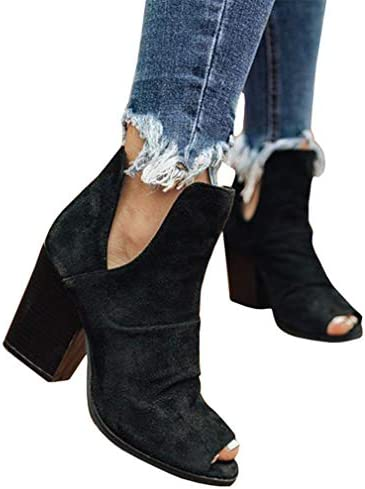 Syktkmx Womens Cutout Booties Chunky