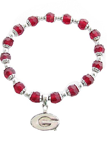 (Sports Accessory Store Georgia Bulldogs UGA Red Glass Beaded Stretch Bracelet G Logo Silver Plated Charm Jewelry)