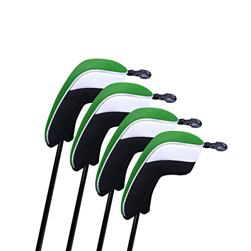 HDE 4pcs Hybrid Golf Club Head Covers Interchangeable Covers with No. Tag Neoprene Mesh Toppers ()
