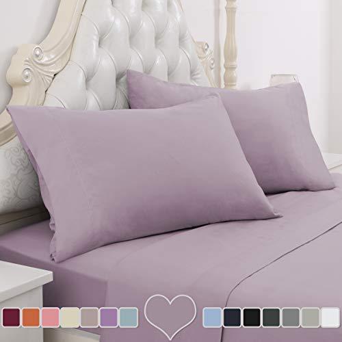 HOMEIDEAS 4 Piece Bed Sheet Set (Queen, Lavender) 100% Brushed Microfiber 1800 Bedding Sheets - Deep Pockets, Hypoallergenic, Wrinkle & Fade Resistant