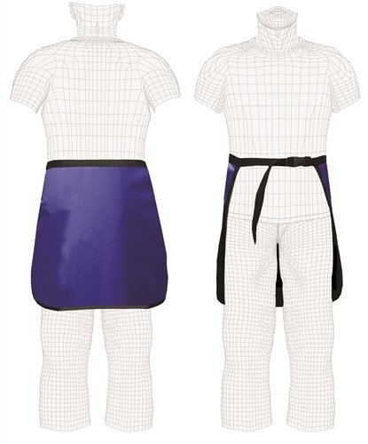 Quick Ship Regular Lead X-Ray Half Apron, Lap-Guard, 0.5mm Pb, Buckle Closure, Large, Sapphire