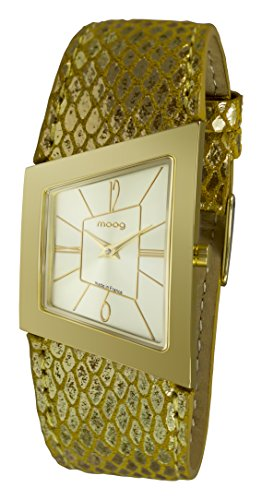 Moog Paris Avant-Gardiste Women's Watch with White Mother of Pearl Dial, Gold Strap in Genuine Leather - M41442F-011