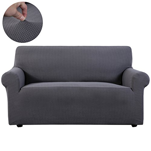 Slipcover 1-Piece stretch fabric Furniture Protector Cover for sofa loveseat and chair (Loveseat, Gray) - Furniture Slipcover Loveseat