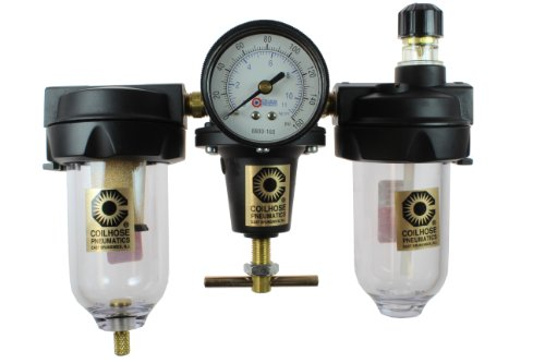 Coilhose Pneumatics 8882AAG Heavy Duty Series Filter, Regulator, and Lubricator Trio Assembly, 1/4-Inch Pipe Size by Coilhose Pneumatics