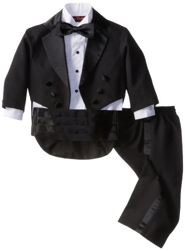 Joey Couture Baby Boys' Tuxedo Suit Tail, Black, 12 Months/Medium -
