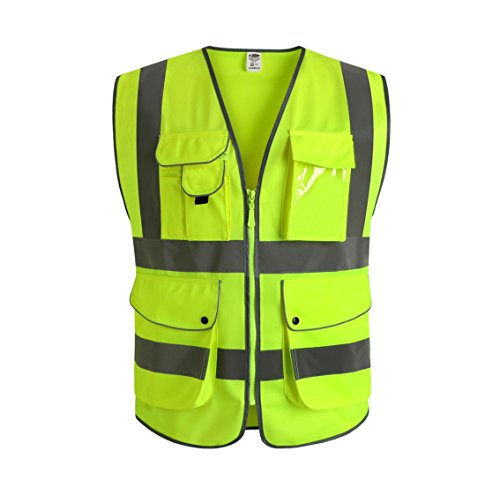 JKSafety 9 Pockets Class 2 High Visibility Zipper Front Safety Vest With Reflective Strips, Yellow Meets ANSI/ISEA Standards (X-Large) by JKSafety