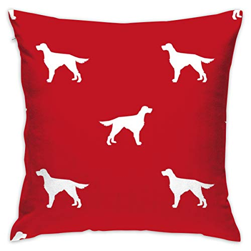 oktopstore Irish Setter Dog Fabric Silhouette Pattern Red_1858 Throw Pillow Covers Soft Particles Cotton Linen Cushion Covers 18 X 18 inch for Couch Bedroom Car