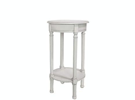 Vilys House Mesa Auxiliar telefonera o Porta macetas de Forma Redonda en Madera Maciza Estilo Provenzal en Color Blanco grisáceo Antiguo