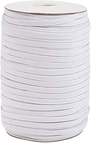 Cuff Mask 100 Yards Length 1//4 Inch Width Braided Elastic Band White Elastic Cord Heavy Stretch High Elasticity Knit Elastic Band for Sewing Crafts DIY Bedspread