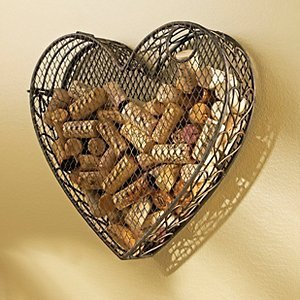 Metal Tabletop or Wall Hanging Heart Shaped Wine Bottle Cork Holder