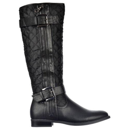 Onlineshoe Women's Quilted Knee High Riding Boots With Buckle and Straps Feature - Black, Tan Brown Black