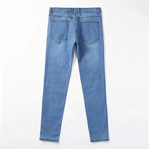 Tinta Cotone E Moda Con Selvaggi Pantaloni Denim sonnena Unita Da Casual Autunno Slim Leggings In Inverno Lavoro Uomo Blu Jeans Zip OHHaqxwBFn