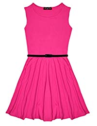 Sugar & Babe Aelstores New Girls Plain Retro Skater Dress with Belt Age Size 7-13 Years