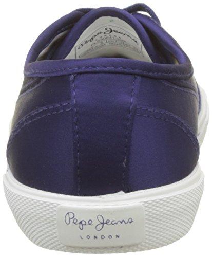 Pepe Jeans London Damen Aberlady Satin Sneaker Blau (Dk Ocean)