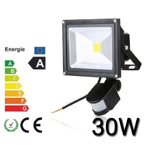 30W LED SMD Fluter Spot + Bewegungsmelder warmweiß Innen-Außenstrahler Objektbeleuchtung Strahler Flutlicht wasserdicht IP65,kein Stecker