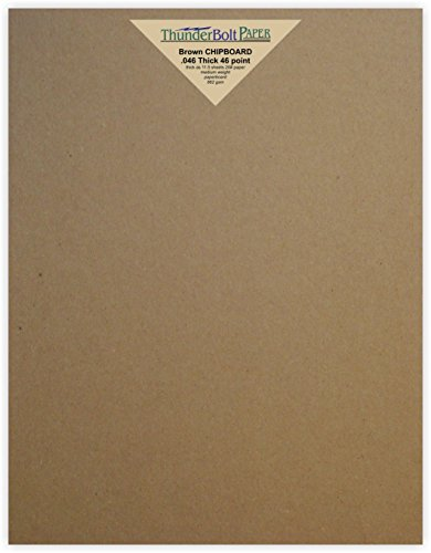 500 Sheets Chipboard 46pt (point) 6.25 X 8.375 Inches Heavy Weight Custom Size .046 Caliper Thick Cardboard Craft and Packing Brown Kraft Paper Board by ThunderBolt Paper