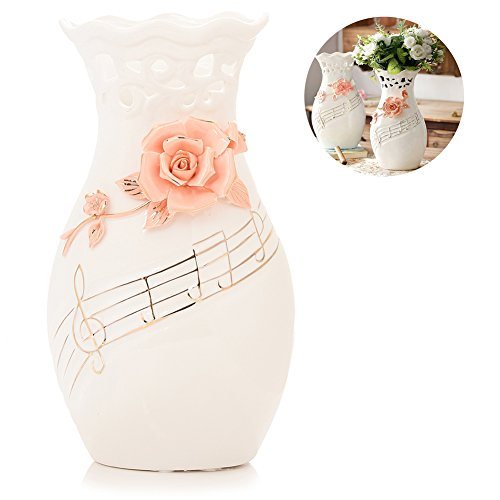 Tall Porcelain Vase (Large White Ceramic Flower Vases,10.6'' Oval Tall Decorative Vases with Handmade Porcelain Pink Flowers for Living Room, Kitchen, Table, Home, Office, Wedding, Centerpiece or as a Gift)