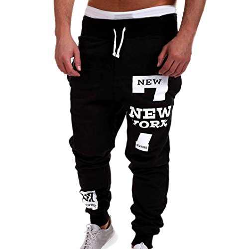 AMSKY❤ Men Trouser, Fashion Slacks Active Running Casual Jogger Dance Sportwear Pockets Baggy Pants Sweatpants (XL, Black) ()